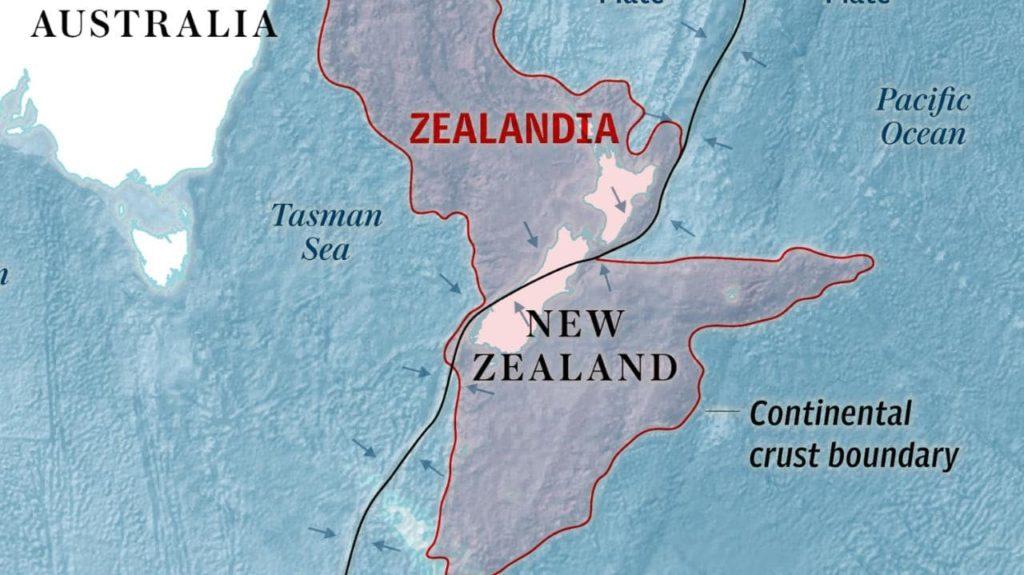 la cartina geografica che indica la posizione della Zealandia