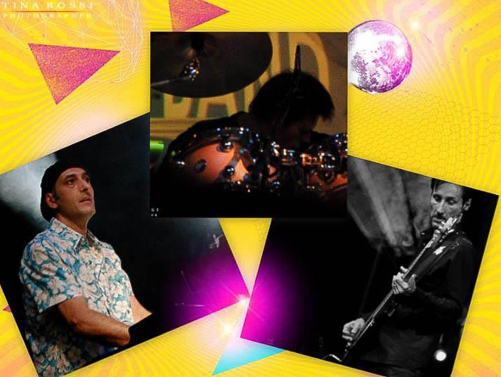 Fotomontaggio del tastierista, batterista e bassista, su sfondo giallo