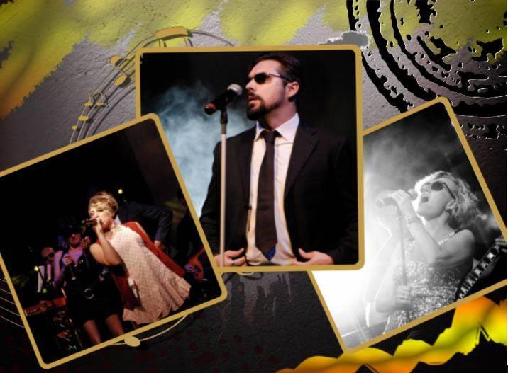 Fotomontaggio dei tre cantanti della band, su sfondo giallo con i cantanti in primo piano.