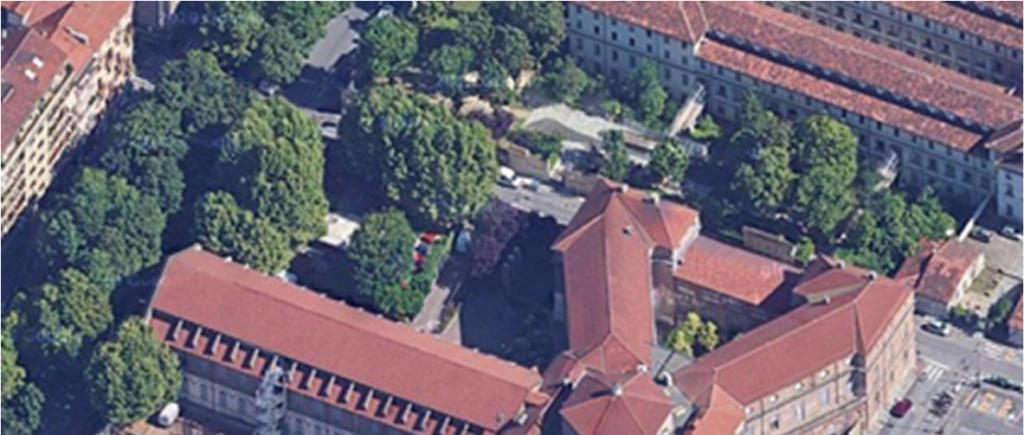 La sede di Via Piave a torino,  vista dal'alto.L'ex Ospedale San luigi Gonzaga di Talucchi sede delle Sezioni Riunite dell'Archivio di Stato di Torino