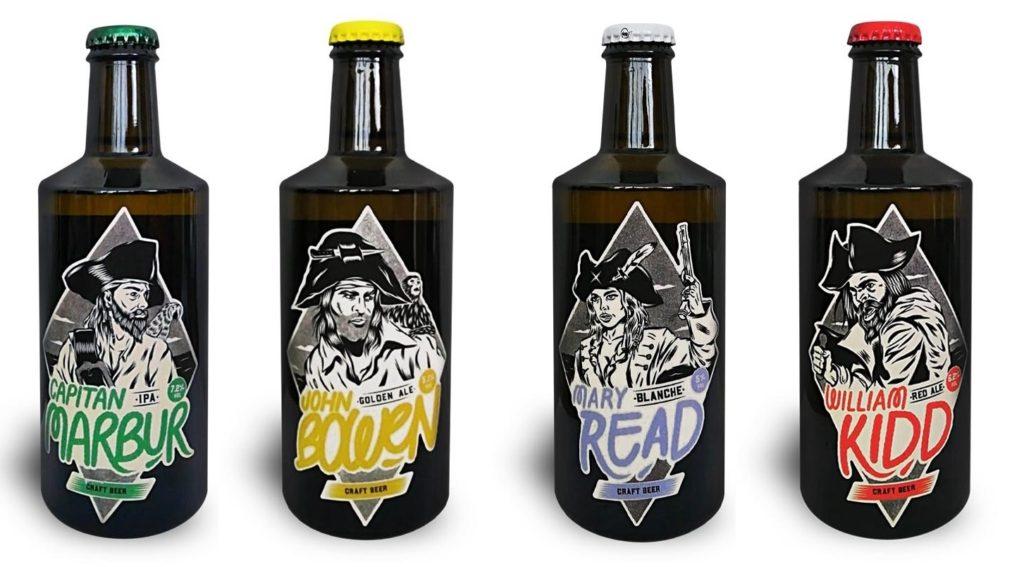 Le quattro bottiglie di birra Marbur