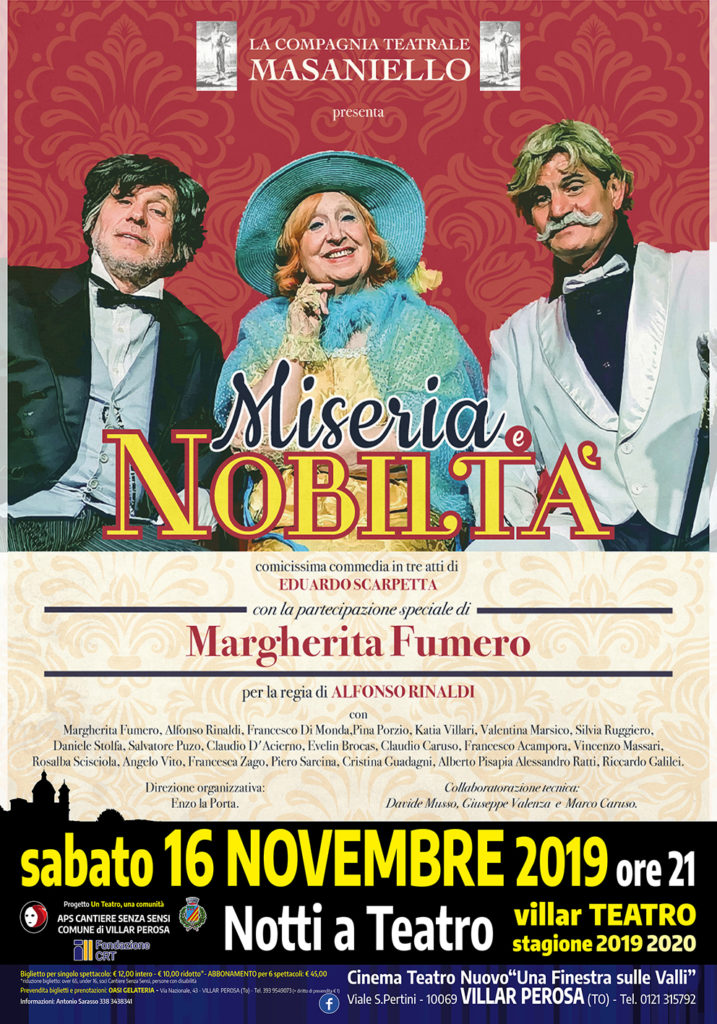la locandina di Miseria e Nobiltà, con tre attori vestiti con abiti ottocenteschi.