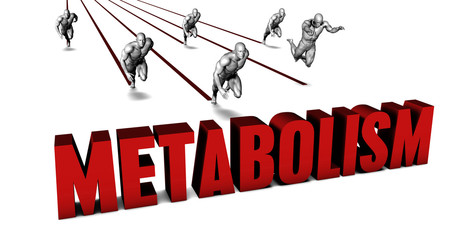 la parola metabolism scrittra in rosso e dietro degli uomini disegnati che corrono