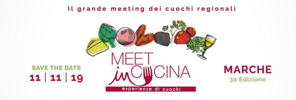 il logo di meet in cucina marche con degl cibo disegnato