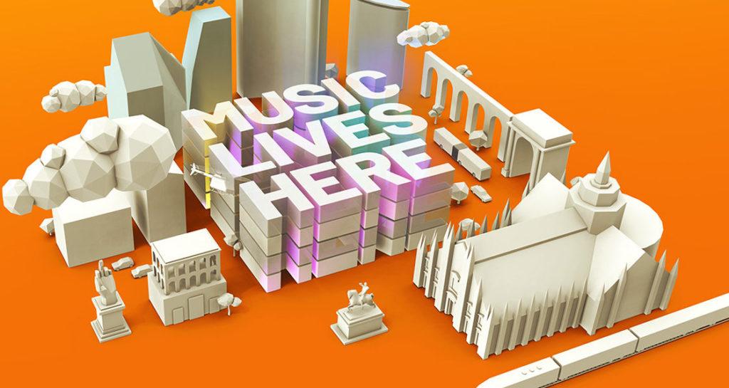 logo Milano music week novembre- la citta di milano con il duommo fatta con oggetti tipo lego e la scritta music live here