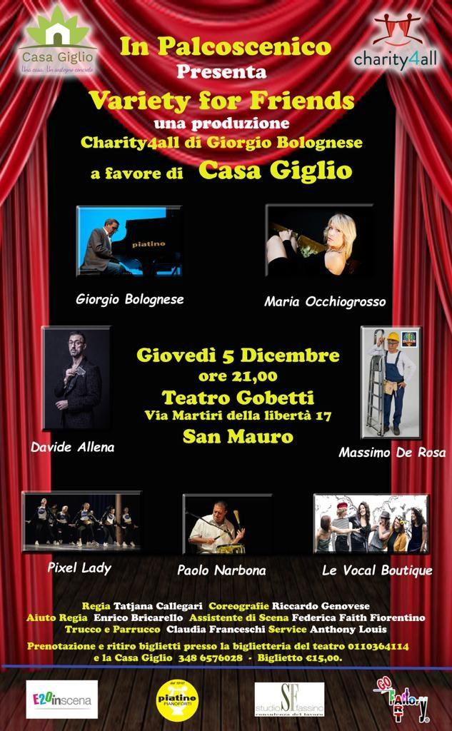 La locandina di Variety for Casa Giglio con tutti gli artisti partecipanti e gli sponsor