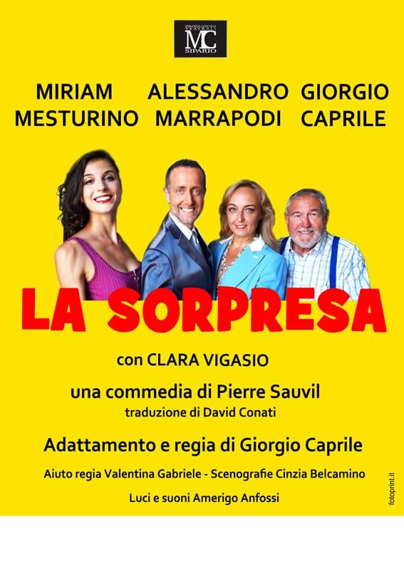 """La locandina de """"la sorpresa"""" con i quattro personaggi della commedia"""