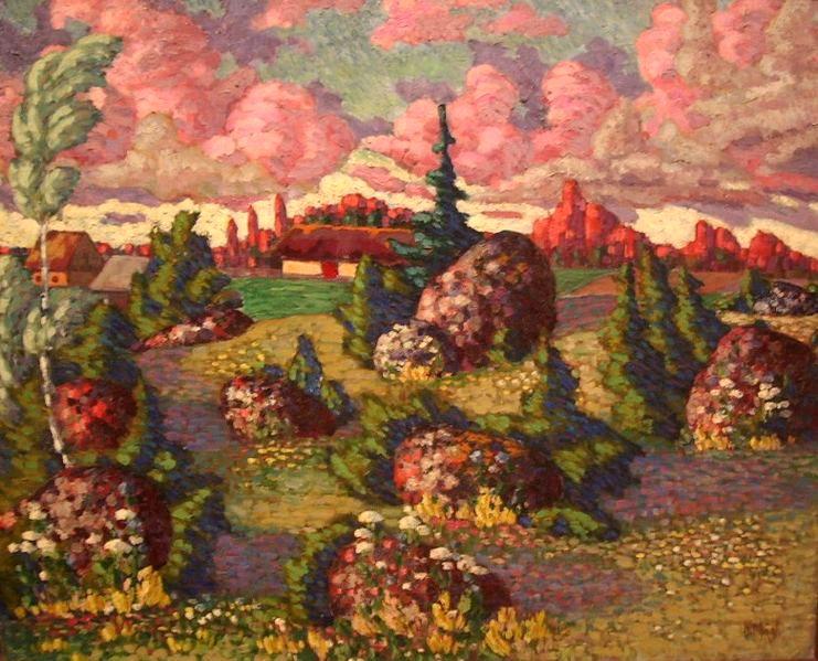 La pittura incredibile della nqtura di comrwd mägi colljne con fiori e colori ambrati