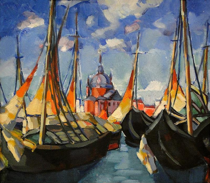 Barche di fromte a Swn Marco in oro arancione e nero