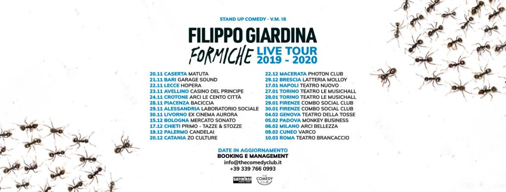 """Filippo Giardina """"Formiche"""" le date del tour e sui bordi delle formiche che vanno verso centro pagina"""
