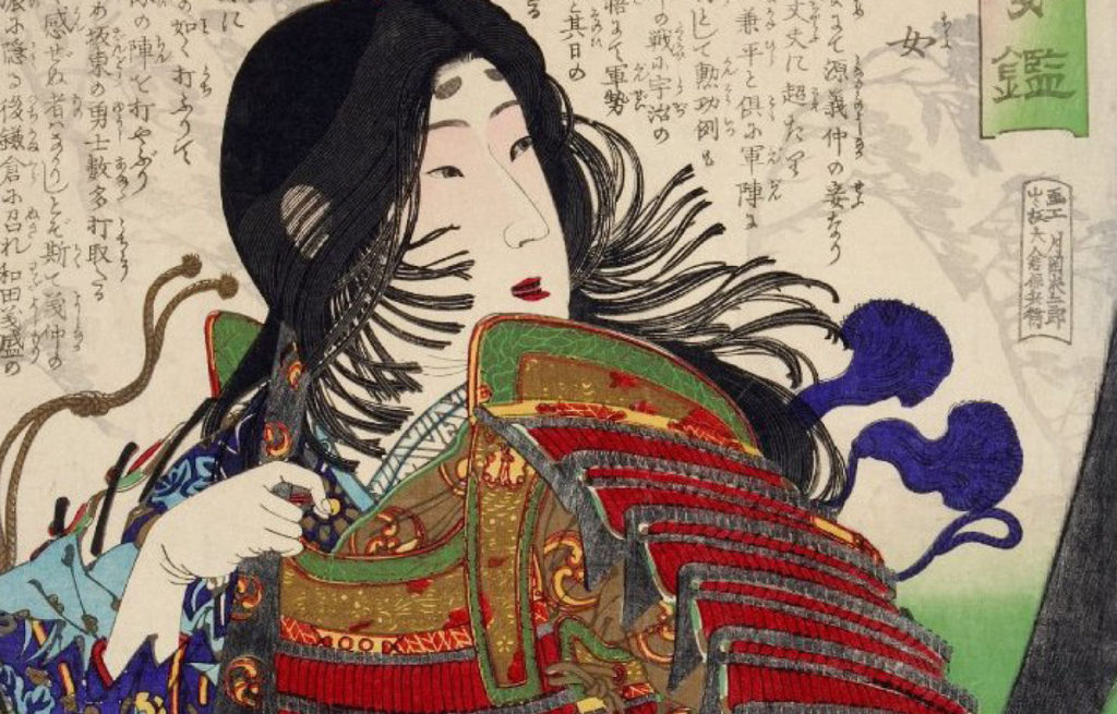 Invincibili la rassegna al cinema delle guerriere del sol levante nella foto un disegno di donna giapponese con mantello rosso e capelli neri