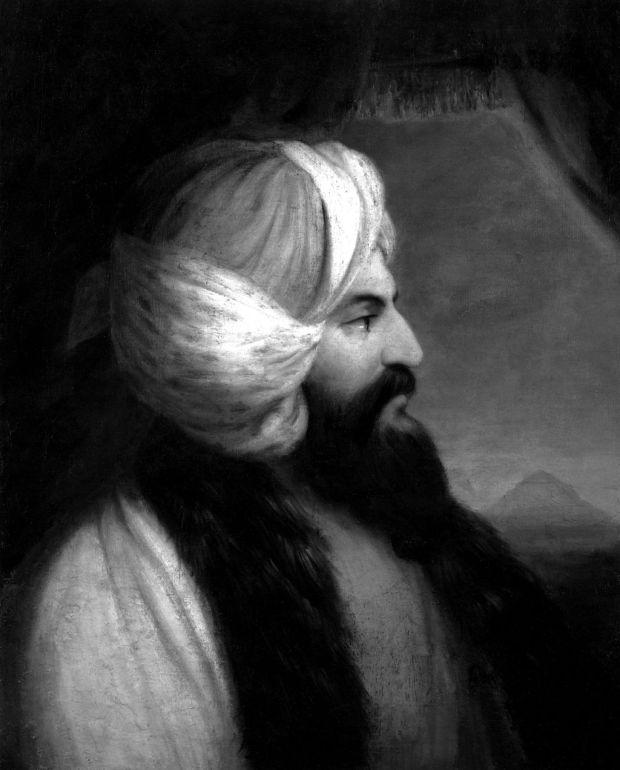 ritratto in bianco e nero di Giovanni Belzoni di profilo con un utrbante in testa e la barba molto lunga