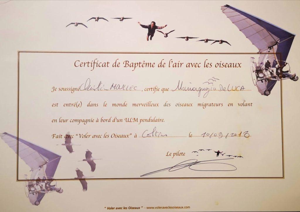 Attestato di volo con gli uccelli firmato da Christian Moullec