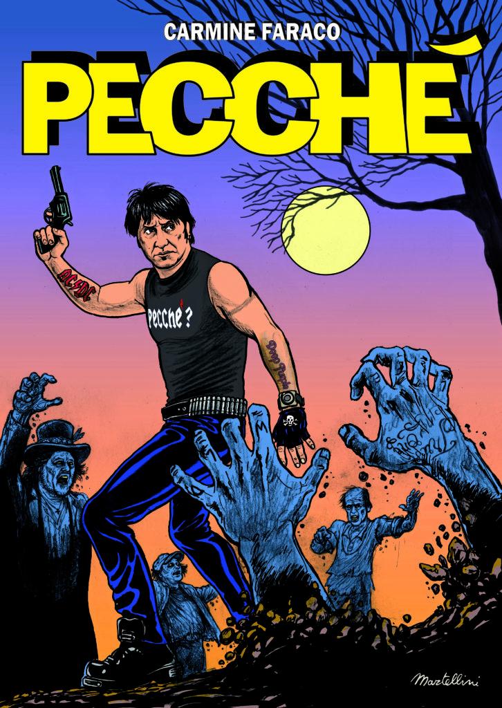 Copertina del fumetto di Carmine Faraco. Sono rappresentati il comico che indossa una canotta nera con la scritta pecché, e jeans, con una mano in alto che impugna una pistola, intorno a lui ci sono mani di zombie che escono dalla terra, e zombie dietro che camminano verso di lui. A destra c'è disegnato un albero spoglio, e tra i rami c'è la luna piena