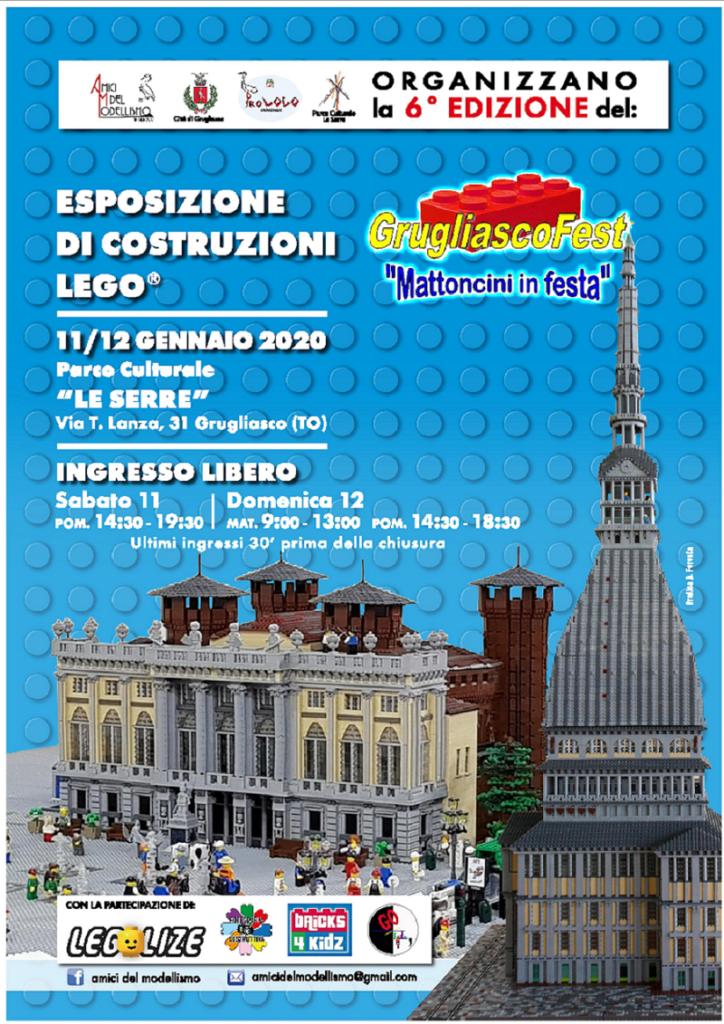 la locandina di mattoncini in festa, la mostra dche si terrà a Grugliasco, su sfondo blu, la mole antonelliana e il parco del valentino, ricostruito con i lego e le indicazioni utili dell'evento