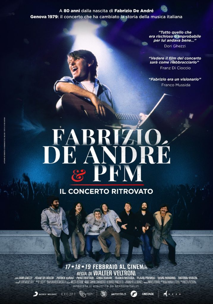 Fabrizio de andrè e PFM il concerto ritrovato: la locandina del film
