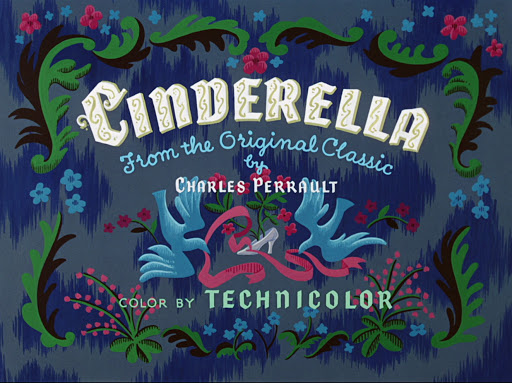 """Cenerentola la locandina del film del 1950con dei disegni di cornucette intorno alla scritta """"cinderella"""" colour in technicolour"""