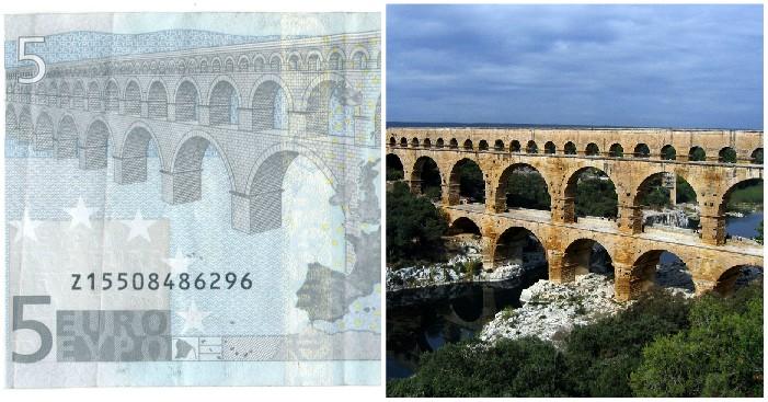 Architettura romana in banconota da 5 euro. Retro