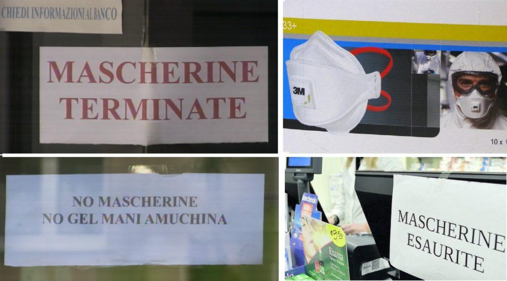psicosi coronavirus 4 immagini con la scritta mascherine esaurite sulle vetrine dei negozi