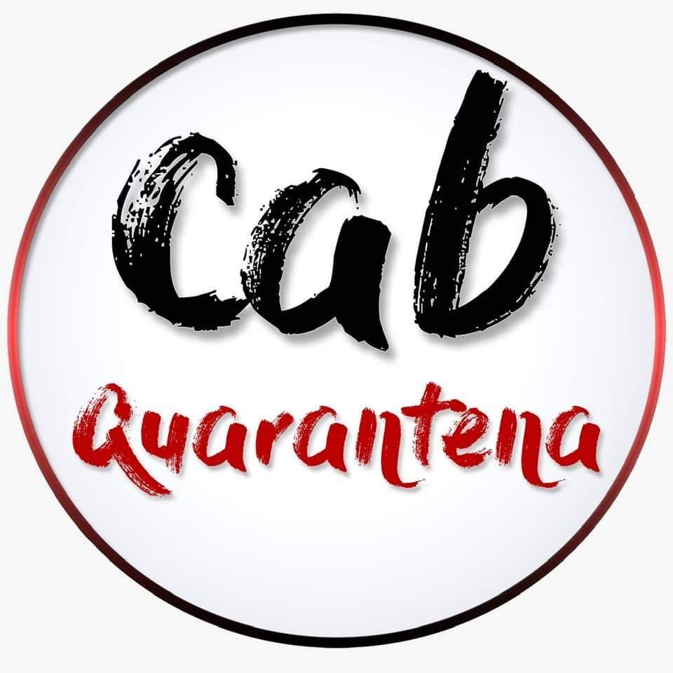 Cab quarantena, risate reali in tempi virtuali. il logo del progetto scritto in caratteri rossi e neri