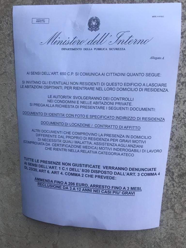 TRUFFA IN CORSO: Controllo di residenza  e avvisi affissi sui portoni