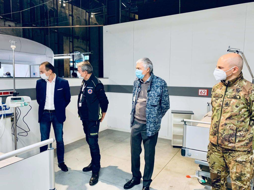 OGR Torino: l'ospedale da campo nato in dodici giorni posti letto in terapia intensiva e subintensiva la visita di Cirio con altre autorità
