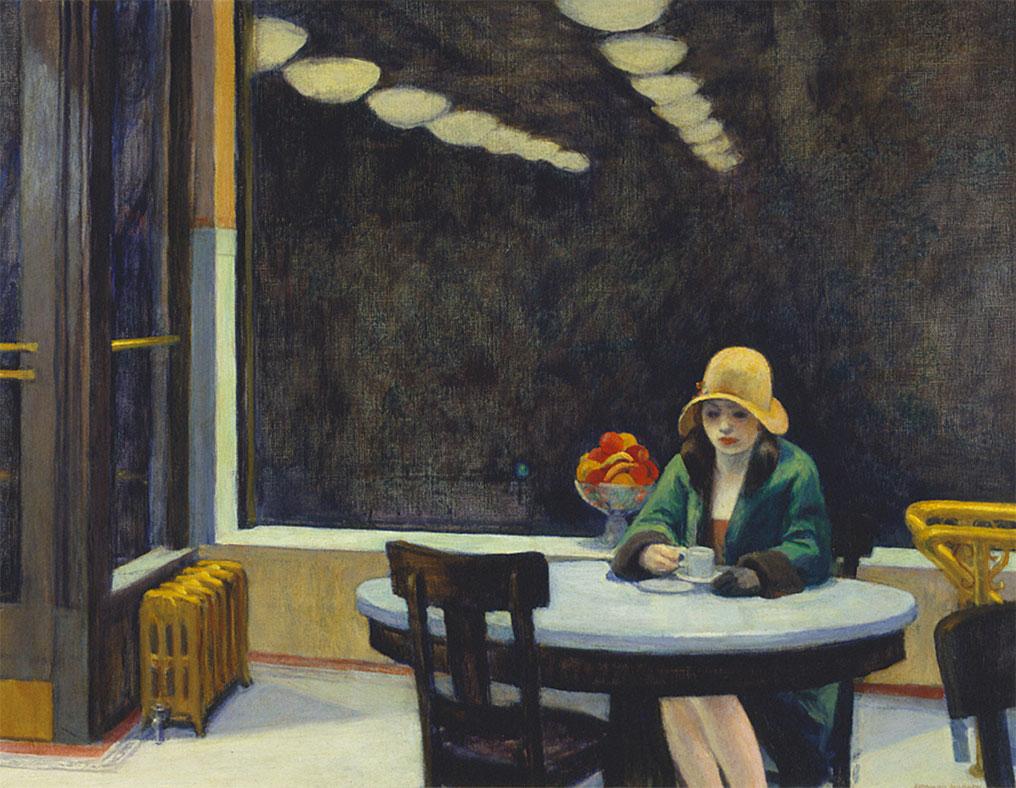 Edward Hopper l'artista del tempo sospeso. Automat Una donna seduta da sola al tavolino di un bar Con un cappellino e una tazza di caffè vuota. Immagine di tristezza