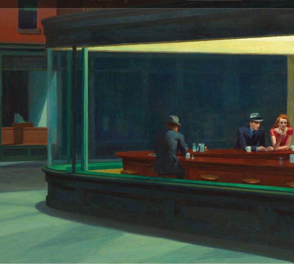 Edward Hopper l'artista del tempo sospeso. Uomini e donna al tavolo.