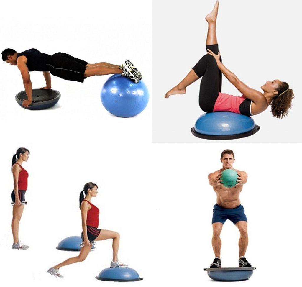 Allenamento propriocettivo: cos'è, a cosa serve e quando è utile  nella foto udue atleti si allenano con dei palloni da palestra e attrezzi vari