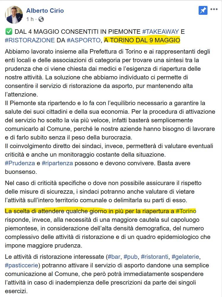 Cirio revoca l'ordinanza del Sindaco: Torino, takeaway chiusi fino 9 maggio