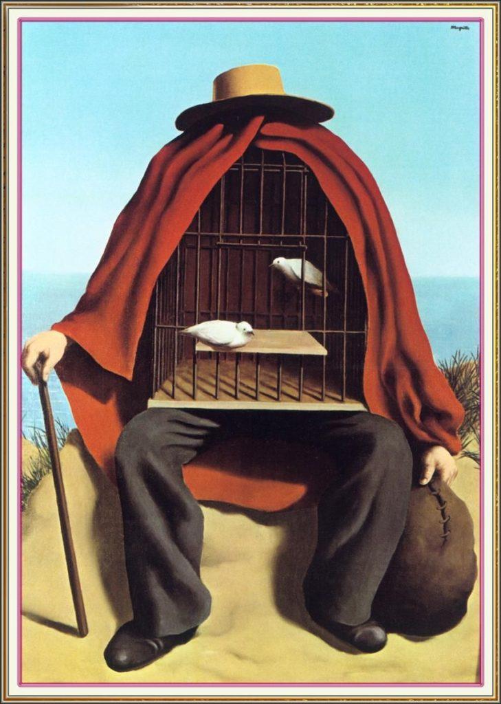 Psicanalisi in tempi di Quarantena, corpi confinati e piatte - forme. Quadro di Magritte el. Terapeuta corpo con gabbia di uccello
