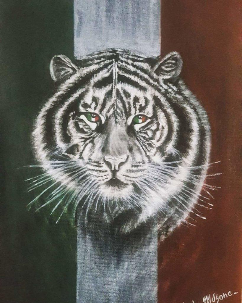 Storie di Quarantena Resiliente, parte da Torino il progetto che ha visto in campo 50 artisti. Tigre bianca su bandiera italiana