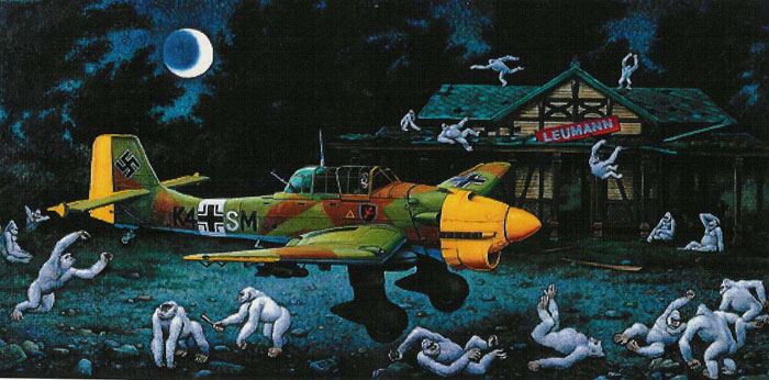 Dipinto di Alessandri aereo giallo e creature fantastiche