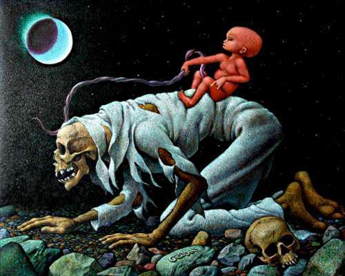Dipinto surreale un feto sopra uno scheletro