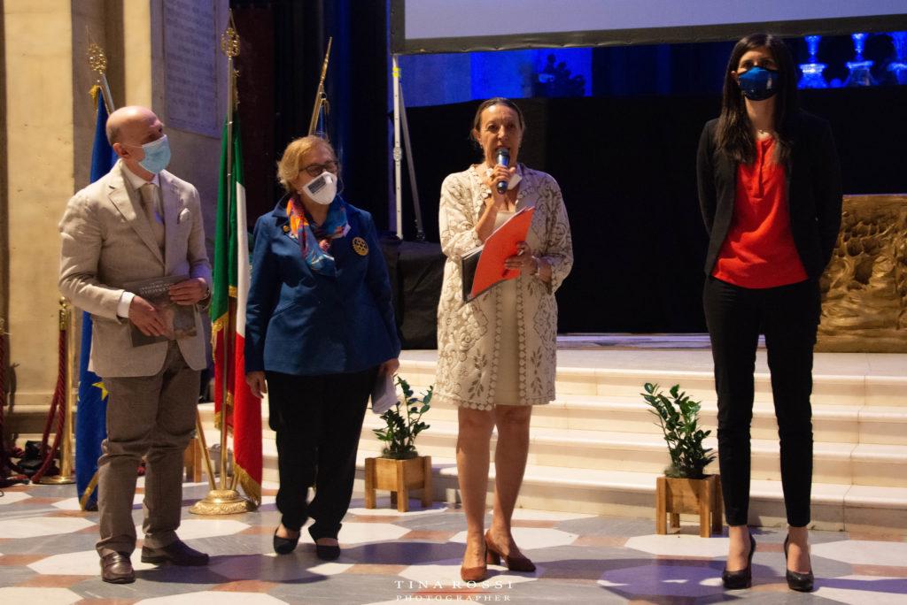 Il cenacolo del Gagna al Duomo di Torino, presentazione. Da sinistra a destra: Aldo Grassini, Dott.ssa Giovanna Mastrotisi, Dott.ssa Paola Gribaudo, Sindaca Chiara Appendino