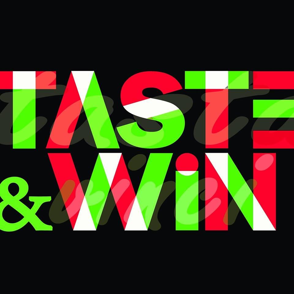 Sicilia taste&Win sceritta colorata in bianco rosso e verde su sfondo nero