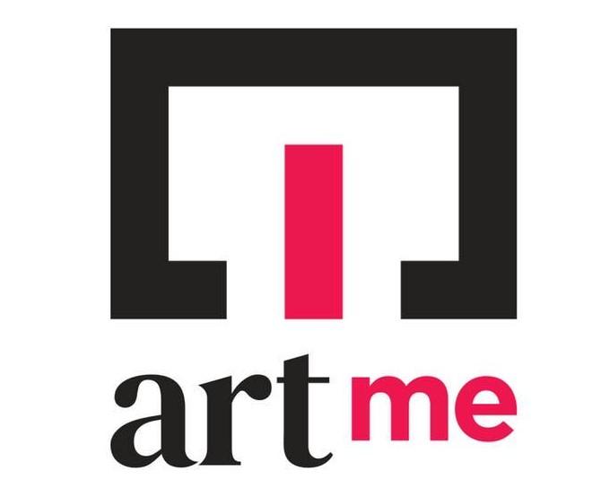 MIlano artme il logo con un rettangolo nero aperto in basso e in mezzo una colonna rossa con sotto la scritta artme