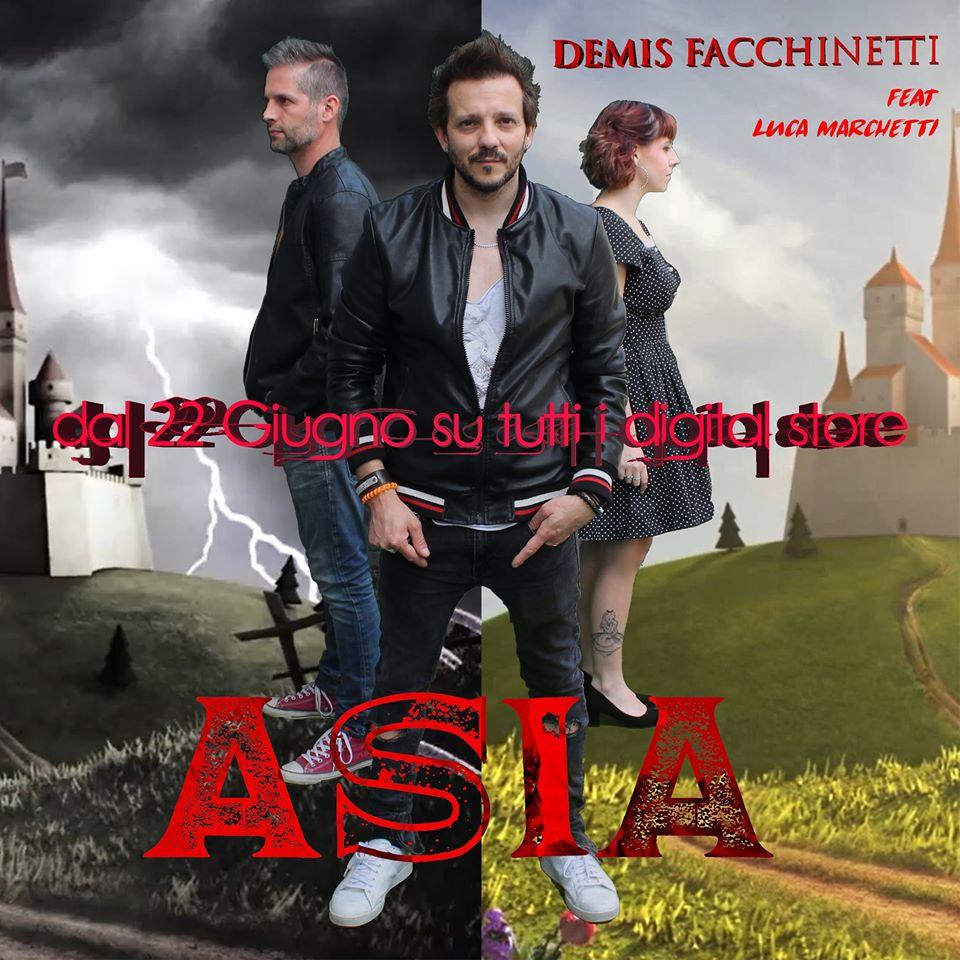 """Demis Facchinetti (feat Luca Marchetti) torna con """"Asia"""". La copertina del singolo che ritrae i protagonisti, con le scritte in rosso e sullo sfondo un castello medievale"""