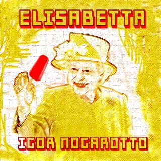 Elisabetta Igor Nogarotto nella foto la regina su sfondo giallo tiene in mano un ghiacciolo