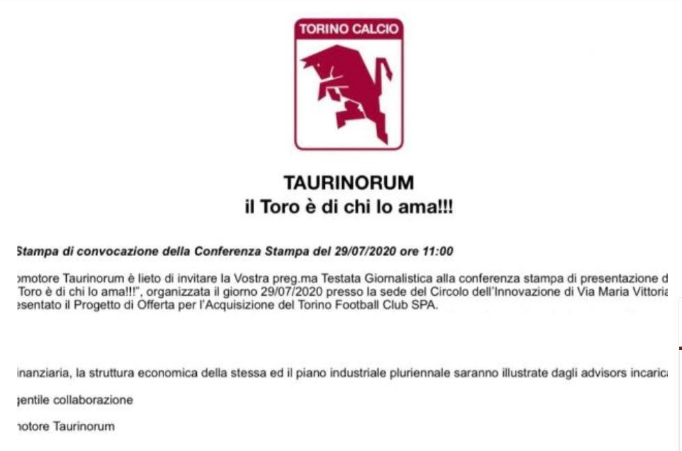 progetto taurinorum acquisto torino fc cairo. nella foto il primo invito alla conferenza stampa