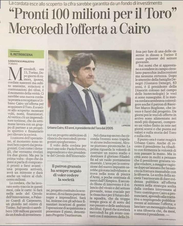 progetto taurinorum acquisto torino fc cairo. nella foto l'articolo apparso su la stampa lunedì 27 lugio