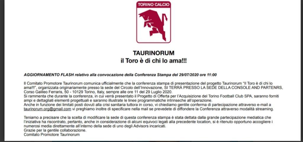 progetto taurinorum acquisto torino fc cairo. nella foto la seconda convocazione alla conferenza stampa
