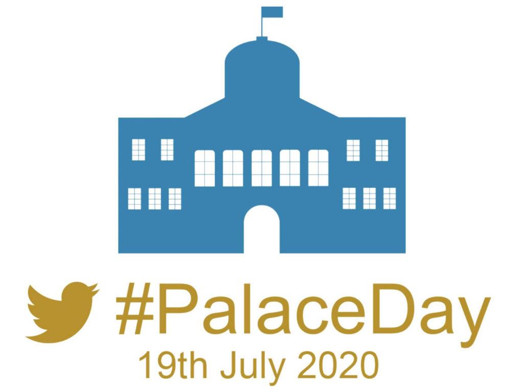 #PalaceDay il logo un palazzo disegnato in azzurro e la scritta in oro