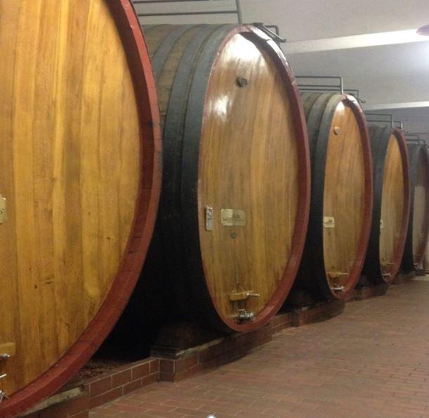 Quattro botti da vino in una cantina