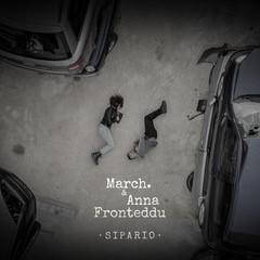 MARCH. & Anna Fronteddu - sipario. la copertina del singolo che vede i due sdraiati  a terra, tra due automobili