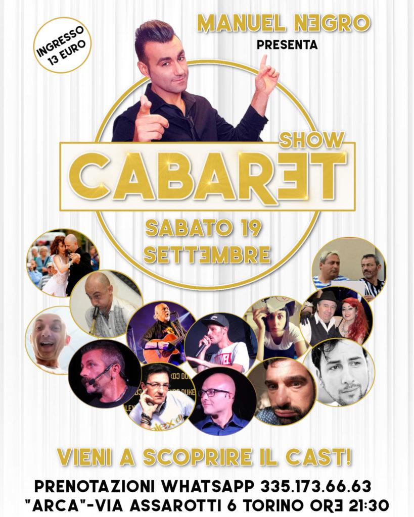 #CabaretShow la locandina con tutte le foto del cast e le informazioni sull'evento
