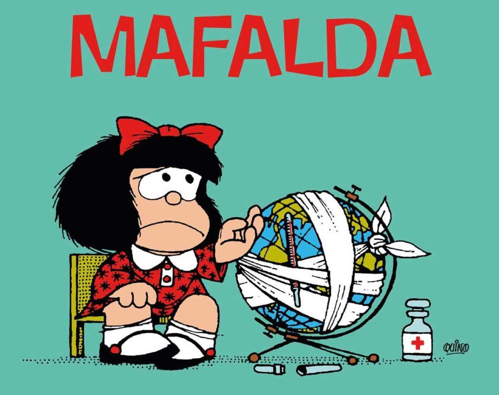 mafalda piange il suo papa Quino, triste con il mappamondo fasciato