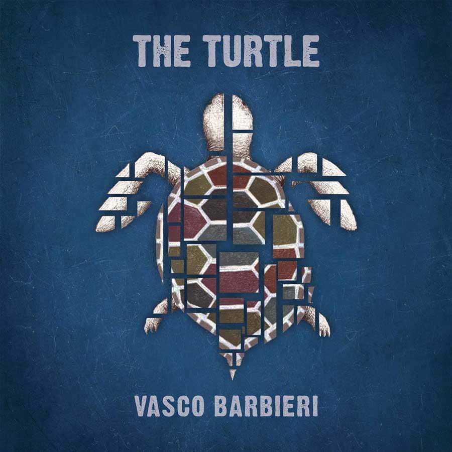vasco barbieri the turtle - la copertina dell'album che rotrae, su sfondo azzurro una tartarugacomposta da pietre marroni e bianche