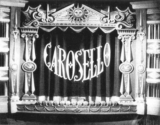 """nel riquadro il logo di """"Carosello"""" la vecchia trasmissione RAi, quando la Tv era in bianco e nero"""
