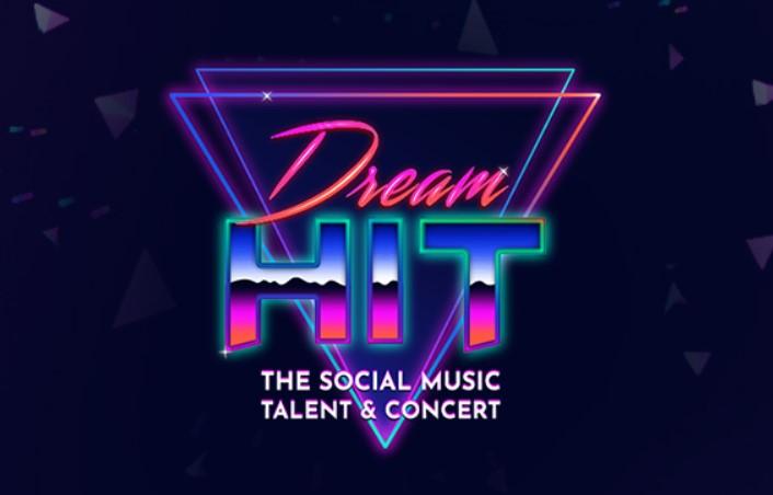 Dream hit il logo con due triangoli con la punta all'ingiu, e al centro la scritta dream Hit the social music talent & concert